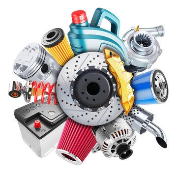 Car spare parts logo. 3d concept