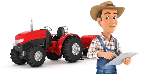 3d farmer with notepad in front of tractor
