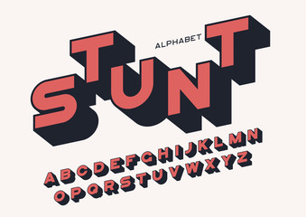 Styled sans serif bold letters with long shadow. Vector alphabet, typeface, font, typography.