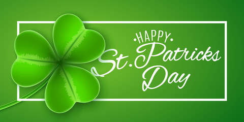 Cover for St Patrick's Day. Frame banner with clover and text. Green background. Calligraphic white text. Greeting card. Vector illustration