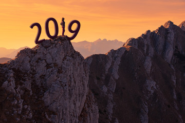 Lone girl standing on the cliff and worried for 2019