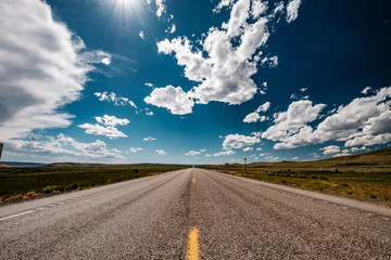 Empty open highway in Wyoming