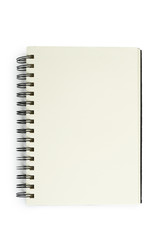 Open black notebook for writing or drawing on spiral, isolated on white background
