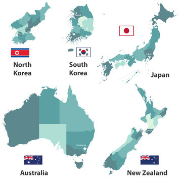 vector maps and flags of Japan, North Korea, South Korea, Australia and New Zealand with administrative divisions (regions borders)