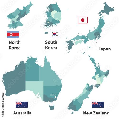 vector maps and flags of Japan North Korea South Korea Australia