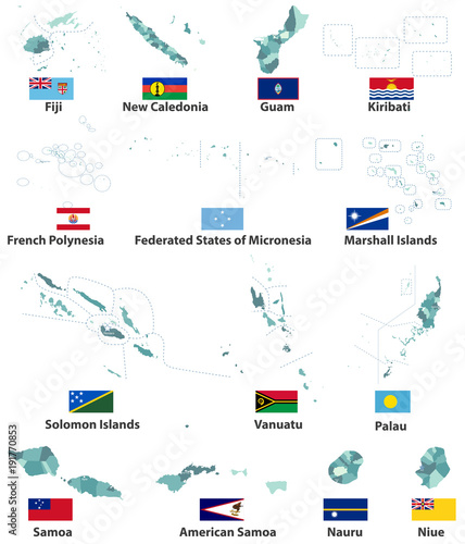 vector maps and flags of oceania countries with administrative ...