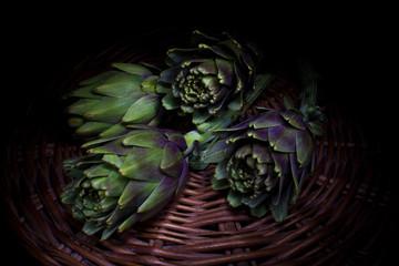 organic artichokes  (light painting technique)