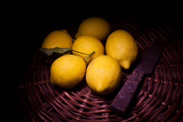 lemons with old knife  (light painting technique)