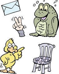 Cartoon Vector illustration of a set of funny Clipart drawings and Icons