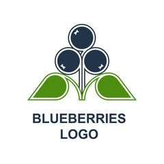 Blueberries or bilberries with leaves logotype design concept in minimalist style. Wild forest berries symbol template. Vector design element isolated on white background.