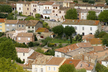 Colourful old rooftops of St Chinian, Languedoc-Roussillon, France, Europe