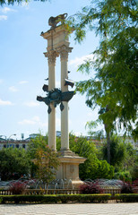 Fountain in city park in Sevilla