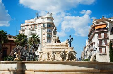 Water fountain on city square in Sevilla