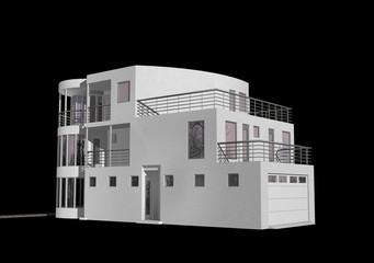 3D modern house isolated on black