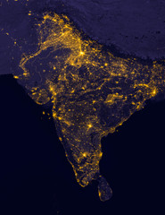 India lights during night as it looks like from space. Elements of this image are furnished by NASA