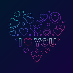 Colorful i love you vector Heart linear illustration