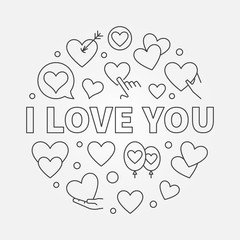 I Love You round vector linear concept illustration
