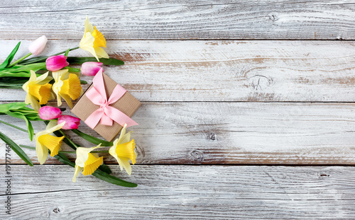 Yellow daffodils and pink tulips with gift box on white weathered wooden boards