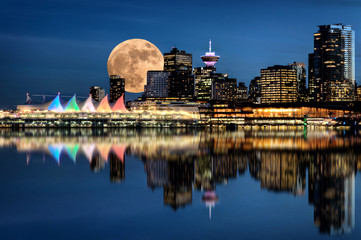 Vancouver Night Full Moon Wall mural