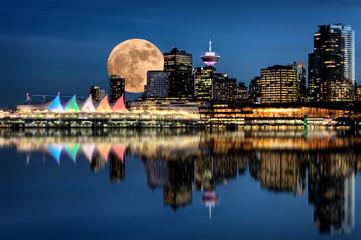 Vancouver Night Full Moon Fototapete