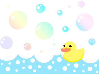 yellow duck in the bath with bubbles. illustration.