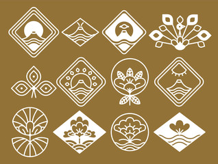 Japanese Icons with Natural and Floristic Motifs
