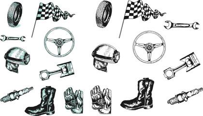 Equipment of auto-motorcycle racer vector