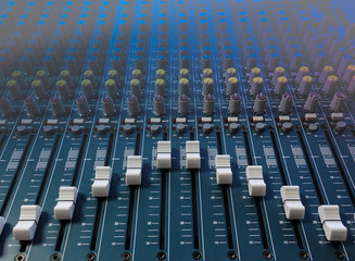 Closeup of a music mixer