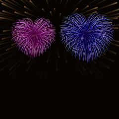 Beautiful heart-fireworks background card. Bright romantic couple fireworks. Isolated black background. Light love salute for Valentine Day celebration. Symbol wedding Vector illustration