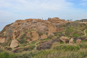 The remains of the old crusaders fortress at Apollonia-Arsuf National Park in Israel