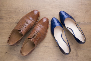 stylish leather shoes of a man and of a woman