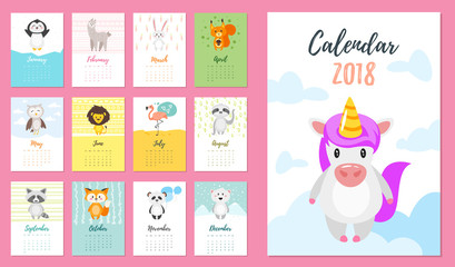 2018 year calendar with animals