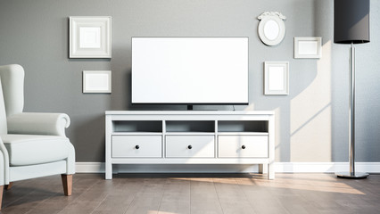 TV on stand in bright room. 3D illustration.