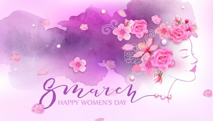 Happy women's day. 8 March with flowers