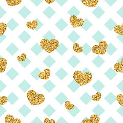 Gold heart seamless pattern. Blue-white geometric decoration, golden confetti-hearts. Symbol of love, Valentine day holiday. Design wallpaper, background, fabric texture. Vector illustration
