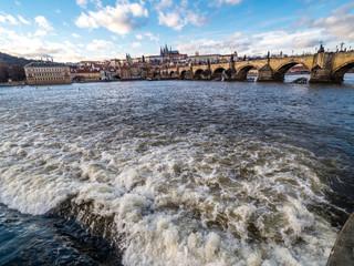 View of Charles Bridge, Prague Castle with Saint Vitus Cathedral.