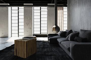 Modern industrial loft conversion living room