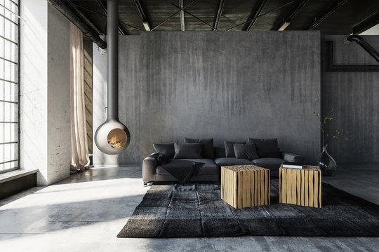 Minimalist industrial loft conversion living room