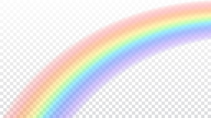Rainbow icon. Shape arch realistic isolated on white transparent background. Colorful light and bright design element. Symbol of rain, sky, clear, nature. Graphic object. Vector illustration
