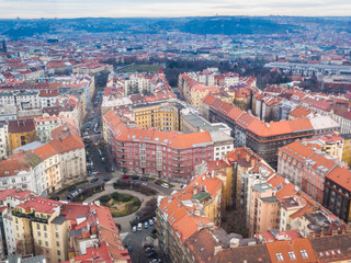 View from above from Prague, Zizkov district.