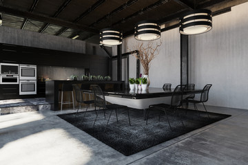 Modern black designer loft conversion interior