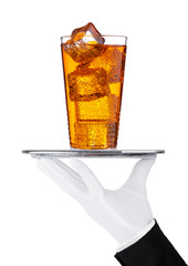 Hand with glove holds tray with energy drink glass