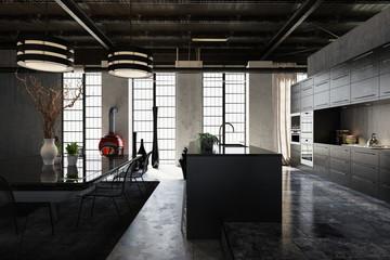Large spacious modern industrial loft conversion