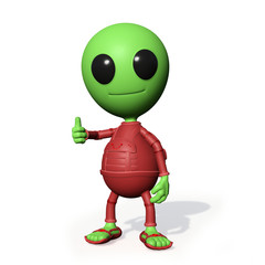 cute little alien cartoon character with thumbs up (3d illustration, green man isolated on white background)