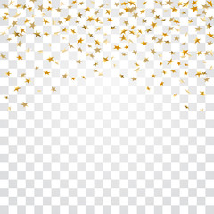 Gold stars falling confetti isolated on white transparent background. Golden abstract confetti. Decoration sparkle explosion festive, celebration party. Holiday stars rain. Vector illustration