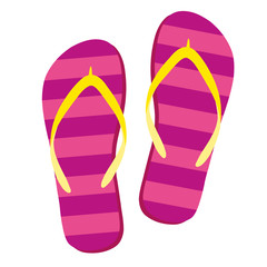Flip flops isolate on a white background. Slippers icon. Colored flip flops pink, yellow striped on white background. Vector illustration AI10.