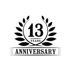 13 years anniversary logo template.