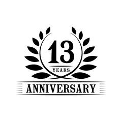 13 years anniversary logo template.