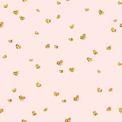 Gold heart seamless pattern. Golden chaotic confetti-hearts on pink background. Symbol of love, Valentine day holiday. Design wallpaper, fabric texture. Vector illustration
