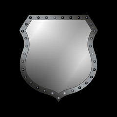 Silver shield shape icon. 3D gray emblem sign isolated on black background. Symbol of security, power, protection. Badge shape shield graphic design. Vector illustration